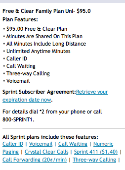 Unlimited Minutes Sprint Family Plan 95