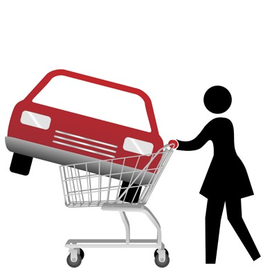 woman car shopper buying auto inside shopping cart