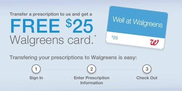 Walgreens Pharmacy $25 Gift Card for Rx Transfer