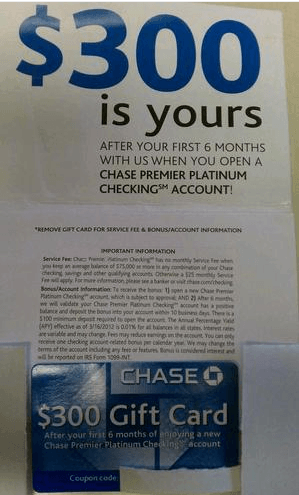 Chase Premier Platinum 300 Bonus Checking Account