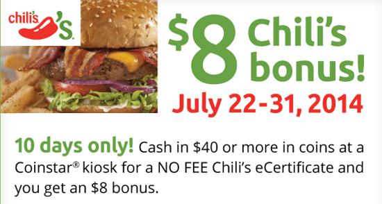 Cointstar Chilis $8 Bonus