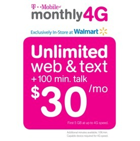 TMobile and Walmart Prepaid Unlimited Phone Plan 30Month