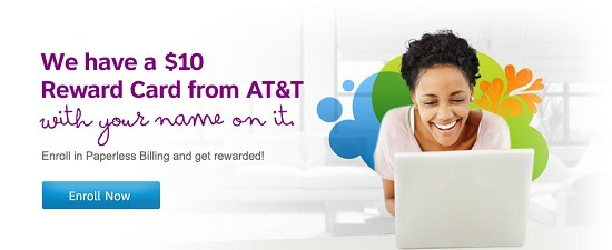 AT&T $10 Bonus Paperless Statement