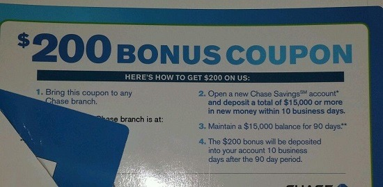 Chase $200 Savings Coupon