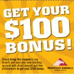 Mountain America Credit Union $100 Checking Promotion (UT)
