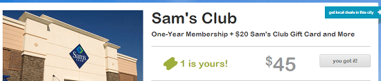 Sam's Club Living Social
