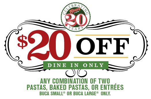 image about Buca Di Beppo Printable Coupons called Buca di Beppo Italian Cafe Printable Coupon for $20