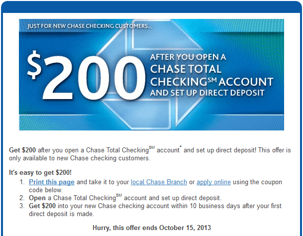 Chase coupon code for $200 new account