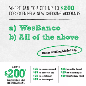 WesBanco $200 Bonus