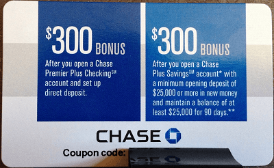 Chase $600 Bonus Coupons Premier Checking & Plus Savings