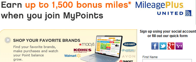 1500 United Miles MyPoints