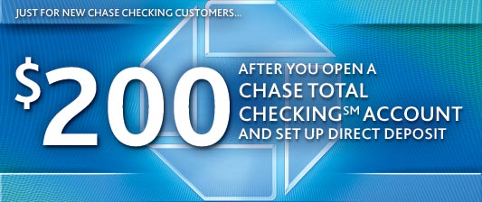 Chase $200 checking account bonus coupon 2018