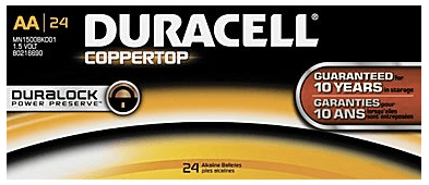 Duracell Coppertop Alkaline AA Batteries 24-Pack