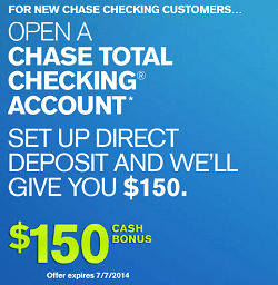 Chase $150 coupon 2014