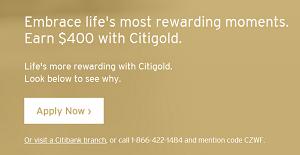 Citibank Citigold $400