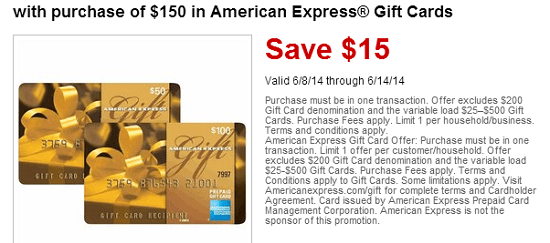 Amex Gift Cards $15 Off