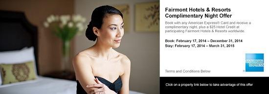 Fairmount Hotel Amex Promo