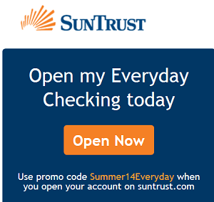 Suntrust Bank Review $125 Everyday Checking Promotion