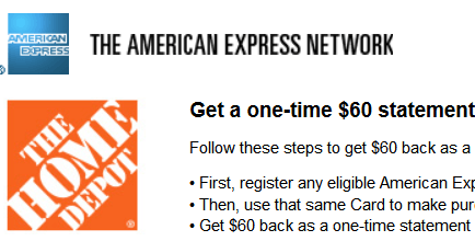 american express home depot 60 statement credit promotion. Black Bedroom Furniture Sets. Home Design Ideas