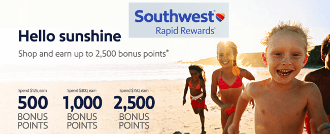 Southwest Rapid Rewards 2500 Bonus Points