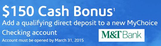 M&T Bank $150 Bonus
