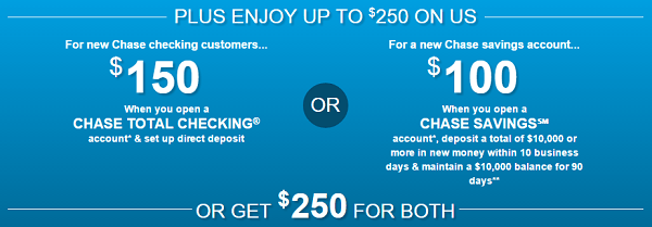Chase $250 Coupons Checking Savings