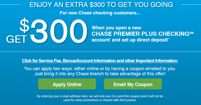 new chase savings account coupon code