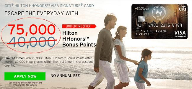 Citi Hilton Hhonors 75K Points