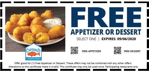 Free Appetizer or Dessert Coupon