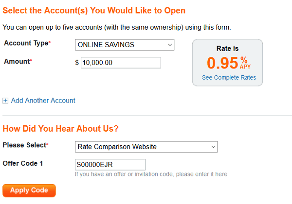 Discover Online Savings Code