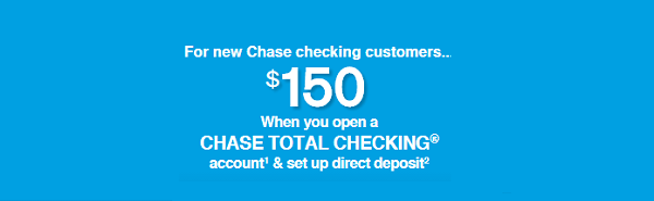 For NEW Chase checking customers, you can get a $ bonus when you open a Chase Total Checking ® account with the $25 opening deposit requirement and set up direct deposit within 60 days of account opening. With the Chase Total Checking ®, you get access to over 16, Chase ATMs, 5, branches.