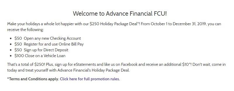 Advance Financial Federal Credit Union Promotion