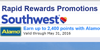 Southwest Airlines Rapid Rewards. Rapid Rewards Members will earn points per qualifying rental transaction at participating locations. Industry discount rates, tour rates, and complimentary rentals do not qualify for frequent flyer points.