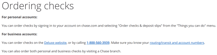 reorder checks online chase