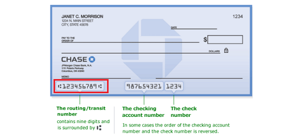 chase bank routing and account number on check