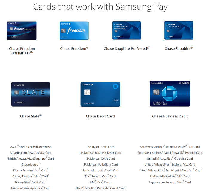 chase cards supported by samsung pay - Chase Business Card