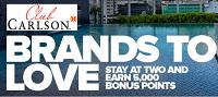 Club Carlson Free 5k Bonus Gold Points Brands to Love Promotion