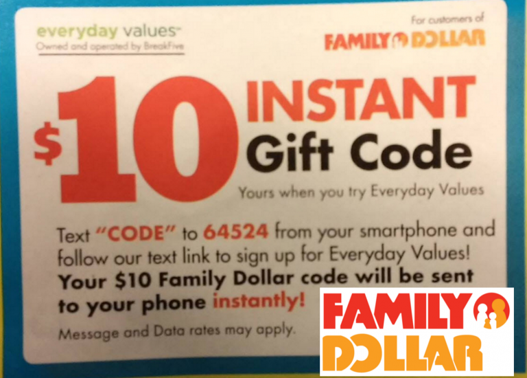Family Dollar Free 10 Gift Code With Sign Up
