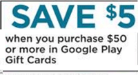 Buy $50 Google Play Gift Cards Get $5 Off