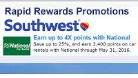 National Car Rental Earn 2,400 Rapid Rewards Bonus Points