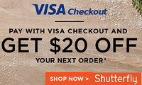 Visa Checkout Shutterfly $20 Off Your Next Purchase