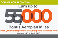 Aeroplan Miles 55,000 Conversion Bonus Promotion