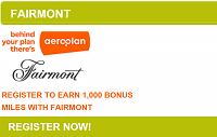 Aeroplan Fairmont Hotels 1,000 Bonus Miles Promotion