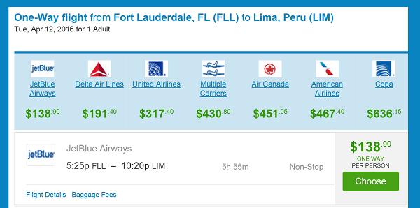 Flight Itinerary FLL to LIM