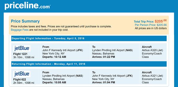 New York to Nassau, Bahamas Itinerary