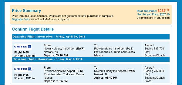Newark, NJ to Providenciales, Turks and Caicos