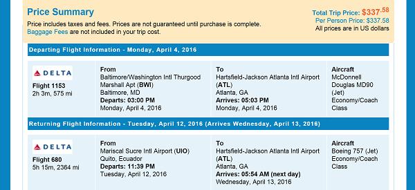 Priceline BWI to UID Flight Itinerary