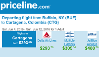 Priceline International Round Trip Flights Buffalo, NY to Cartagena, Colombia