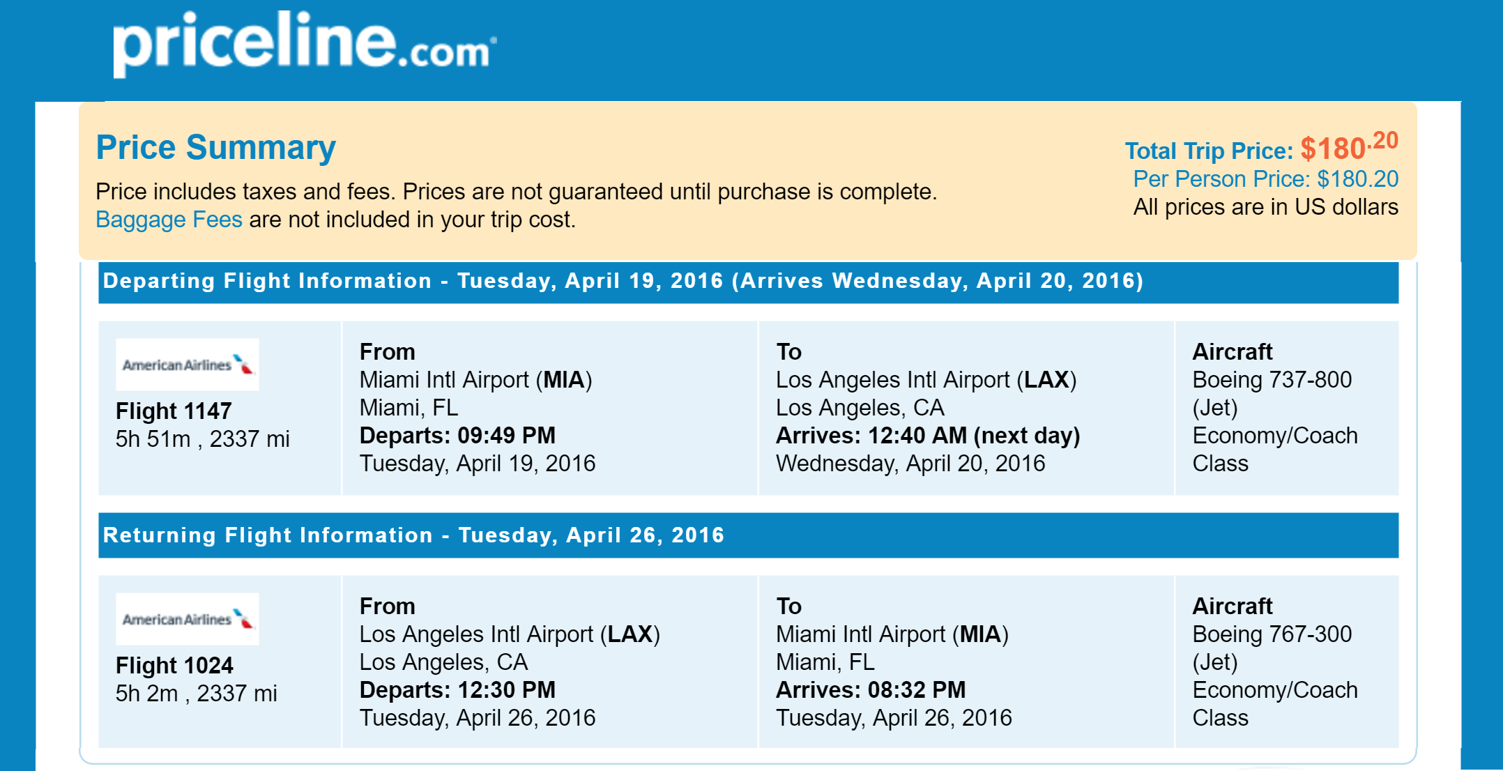 Priceline Non Stop Round Trip Flights Miami to Los Angeles, CA