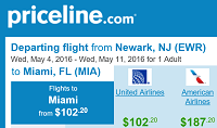 Priceline Non-Stop Round Trip Flights New York - Miami